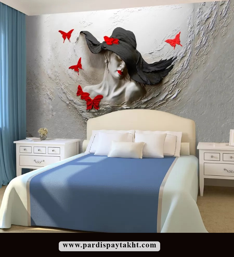 طرح کاغذ دیواری سه بعدی چهره زن با کلاه و پروانه